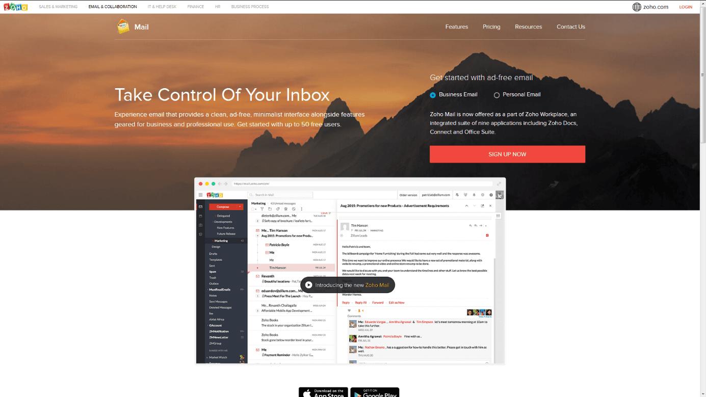 Los 5 mejores proveedores de free mail - 1&1
