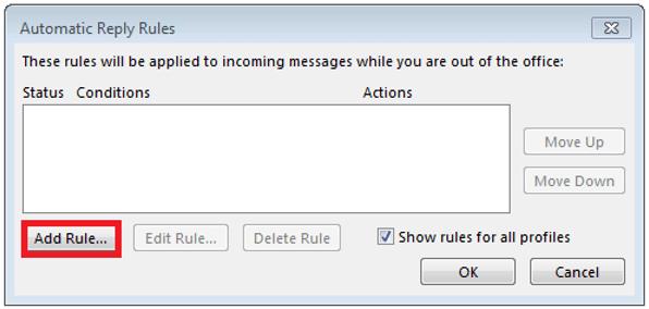 Ventana para establecer determinadas reglas para las respuestas automáticas de Outlook