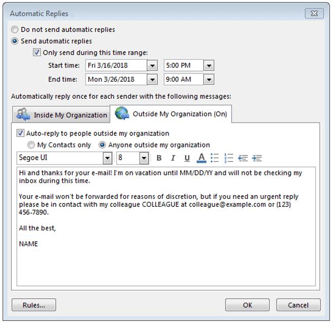 Ventana para crear una respuesta automática que se enviará a los contactos externos