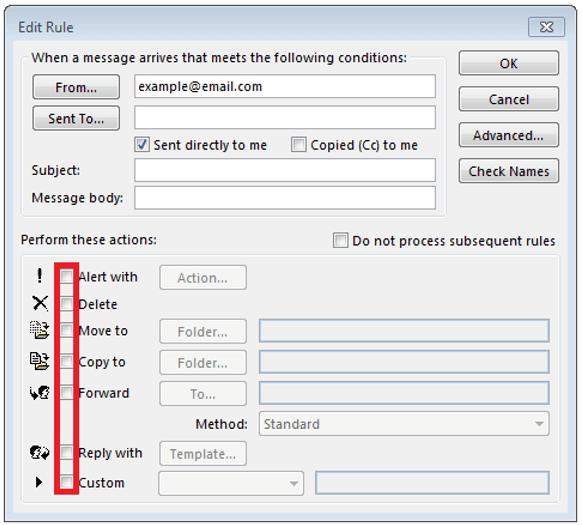 Ventana para editar las reglas de una respuesta automática de Outlook