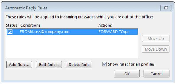 Vista principal de la regla establecida para una respuesta automática en Outlook