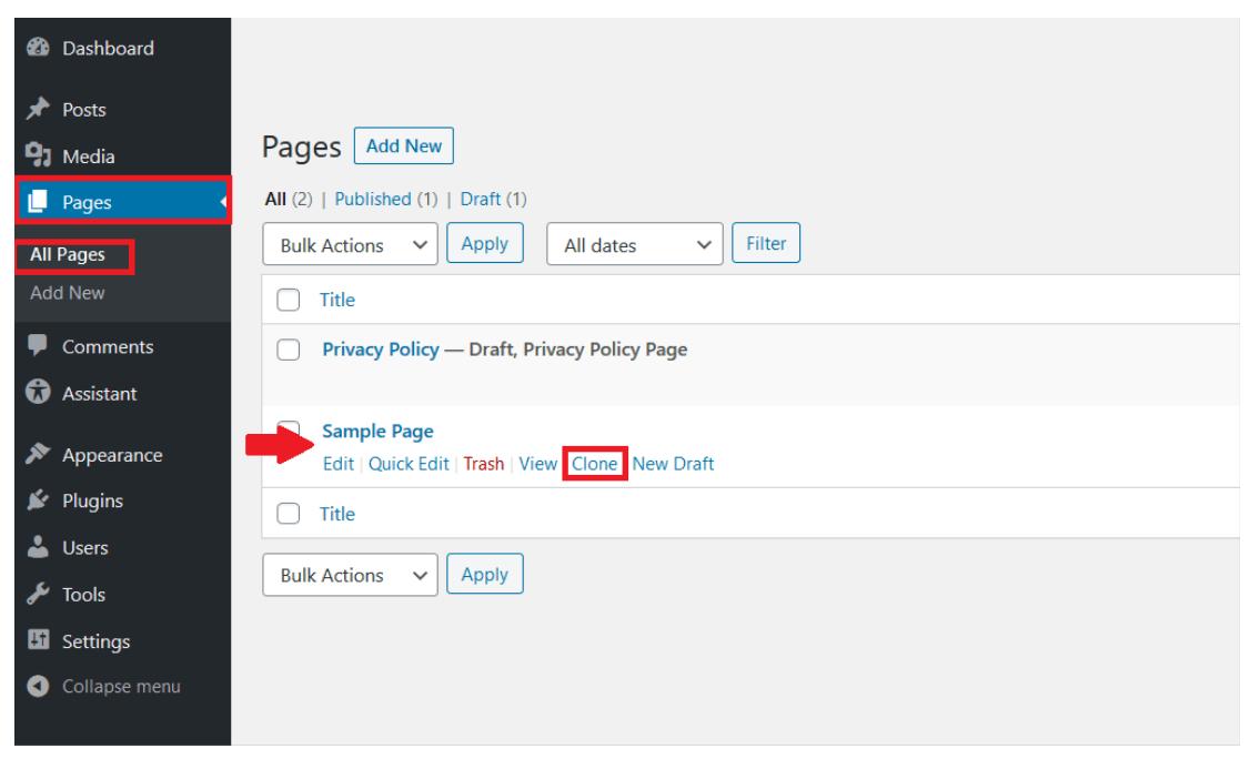 """Backend de WordPress: pestaña de """"Todas las páginas"""" en """"Páginas"""", con la posibilidad de duplicar una página seleccionada"""