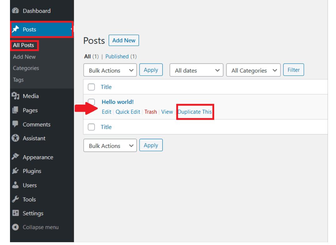"""Backend de WordPress: pestaña de """"Todas las entradas"""" en """"Entradas"""", con la posibilidad de duplicar una entrada seleccionada"""