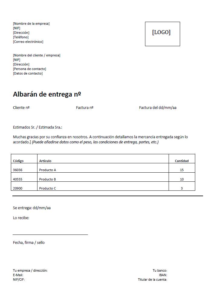 Modelo De Albarán De Entrega Concepto E Instrucciones Ionos