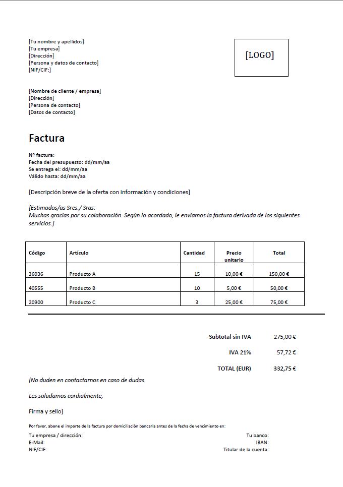 modelo de factura la solución rápida y eficaz 1 1 ionos
